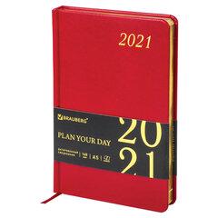 """Ежедневник датированный 2021 А5 (138х213 мм) BRAUBERG """"Iguana"""", кожзам, красный, 111380"""