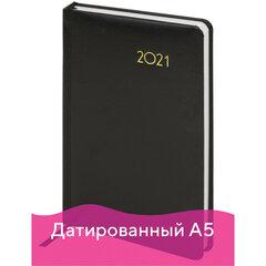 "Ежедневник датированный 2021 А5 (138х213 мм) BRAUBERG ""Select"", балакрон, черный, 111400"