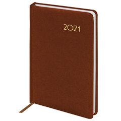 "Ежедневник датированный 2021 А5 (138х213 мм) BRAUBERG ""Select"", балакрон, коричневый, 111401"