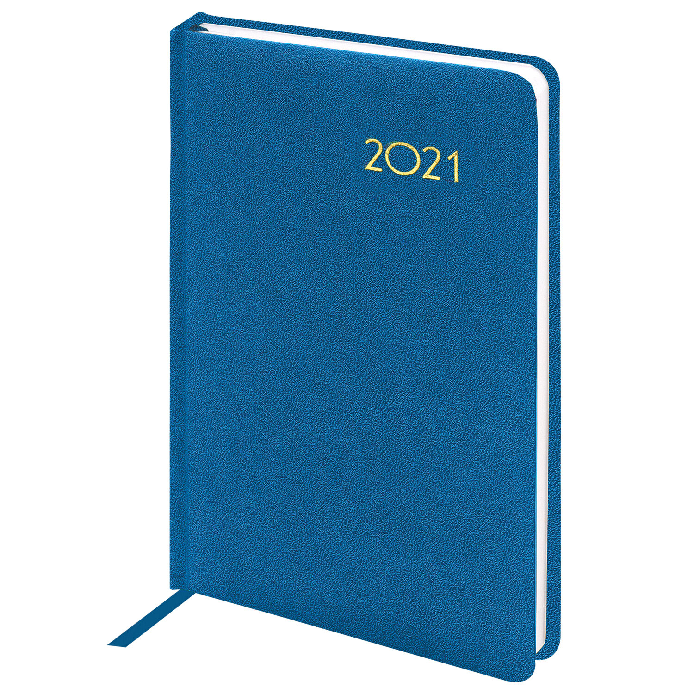 "Ежедневник датированный 2021 А5 (138х213 мм) BRAUBERG ""Select"", балакрон, голубой, 111404"