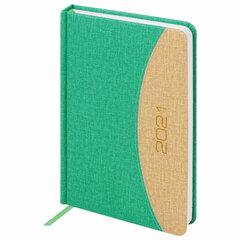 """Ежедневник датированный 2021 А5 (138x213 мм) BRAUBERG """"SimplyNew"""", кожзам, зеленый/кремовый, 111408"""