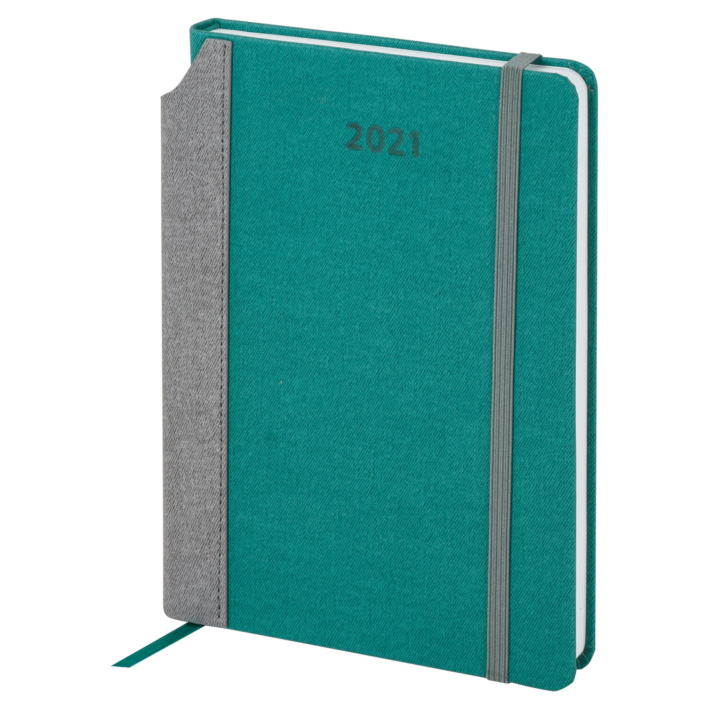"Ежедневник датированный 2021 А5 (138х213 мм) BRAUBERG ""Mosaic"", кожзам, карман для ручки, бирюза, 111460"