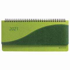 "Планинг датированный 2021 (305х140 мм) BRAUBERG ""Bond"", кожзам, зеленый/салатовый, 111508"