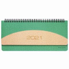 "Планинг датированный 2021 (305х140 мм) BRAUBERG ""SimplyNew"", кожзам, зеленый/кремовый, 111509"