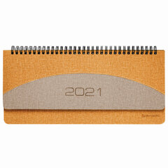 "Планинг датированный 2021 (305x140 мм) BRAUBERG ""SimplyNew"", кожзам, оранжевый/бежевый, 111510"
