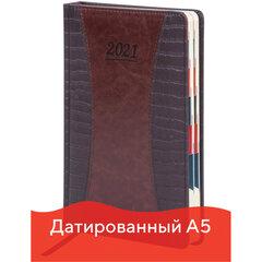 """Ежедневник датированный 2021 А5 (148х218 мм) GALANT """"CombiContract"""", кожзам, коричневый, 111516"""
