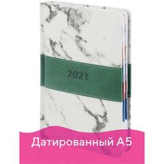 """Ежедневник датированный 2021 А5 (148х218 мм) GALANT """"Athens"""", кожзам, зеленый, 111524"""
