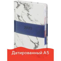 "Ежедневник датированный 2021 А5 (148х218 мм) GALANT ""Athens"", кожзам, синий, 111525"