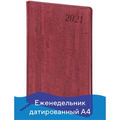 "Еженедельник датированный 2021 БОЛЬШОЙ ФОРМАТ (210х297 мм) А4, BRAUBERG ""Wood"", кожзам, бордо, 111532"