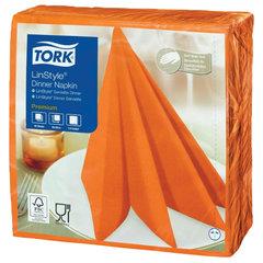 Салфетки бумажные нетканые сервировочные TORK LinStyle Premium, 39х39 см, 50 шт., оранжевые, 478851