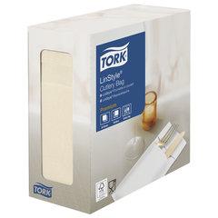 """Конверты бумажные нетканые для столовых приборов TORK """"LinStyle Premium"""", 39х39 см, 60 шт., кремовые, 477228"""