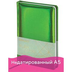 """Ежедневник недатированный А5 (138x213 мм) BRAUBERG """"Holiday"""", кожзам, 136 л., зеленый, 111672"""