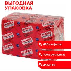 """Салфетки бумажные 400 шт., 24х24 см, LAIMA, """"Big Pack"""", красные (интенсив), 100% целлюлоза, 111795"""