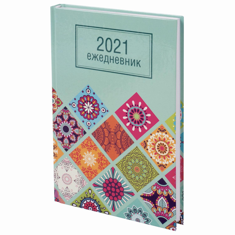 """Ежедневник датированный 2021 А5 (145х215 мм), ламинированная обложка, STAFF, """"Орнамент"""", 111817"""