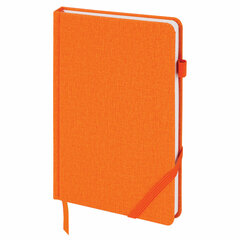 """Ежедневник недатированный А5 (138x213 мм) BRAUBERG """"Finest"""", 136 л., кожзам, резинка, оранжевый, 111873"""