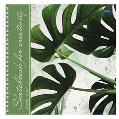 "Скетчбук, белая бумага 120 г/м2, 210х210 мм, 60 л., гребень, твердая обложка, ""Листья"", 60Тт4Aгр_22267"