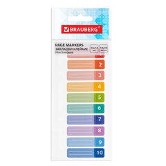 Закладки клейкие BRAUBERG, 44х12 мм, 10 штук по 10 листов, на пластиковой линейке 15 см, 112428