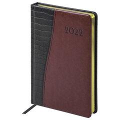 """Ежедневник датированный 2022 А5 138x213 мм BRAUBERG """"Cayman"""", под кожу, черный/коричневый, 112739"""
