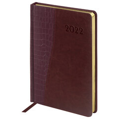 """Ежедневник датированный 2022 А5 138x213 мм BRAUBERG """"Cayman"""", под кожу, коричневый, 112740"""