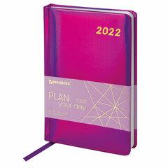 """Ежедневник датированный 2022 А5 138x213 мм BRAUBERG """"Holiday"""", """"зеркальный кожзам"""", фиолетовый, 112749"""