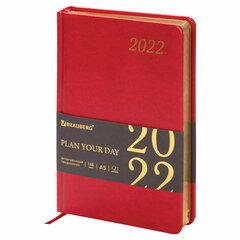 """Ежедневник датированный 2022 А5 138x213 мм BRAUBERG """"Iguana"""", под кожу, красный, 112753"""