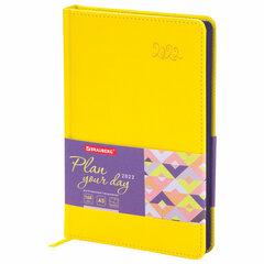 "Ежедневник датированный 2022 А5 138x213 мм BRAUBERG ""Rainbow"", под кожу, желтый, 112773"