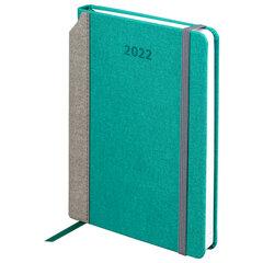 """Ежедневник датированный 2022 А5 138x213 мм BRAUBERG """"Mosaic"""", под кожу, карман для ручки, """"бирюза"""", 112797"""
