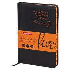 """Ежедневник датированный 2022 А5 138x213 мм BRAUBERG """"Chameleon"""", под кожу, черный/оранжевый, 112825"""