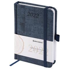 "Ежедневник датированный 2022 МАЛЫЙ ФОРМАТ 100х150 мм А6, BRAUBERG ""Wood"", под кожу, синий, 112929"