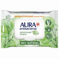 """Салфетки влажные антибактериальные 60 шт., AURA Antibacterial """"ECO Protect"""", клапан крышка"""