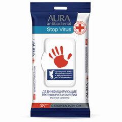 """Дезинфицирующие салфетки влажные 48 шт., AURA """"Stop Virus"""", для рук и поверхностей"""