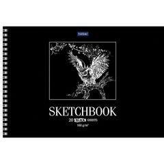 Скетчбук, черная бумага 160 г/м2, 200х295 мм, 20 л., гребень, HATBER Premium, Сова, 20А4Aгр_22274