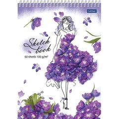 Скетчбук, белая бумага 100 г/м2, 145х205 мм, 60 л., спираль, пластик, HATBER Premium, Flower art, A337325