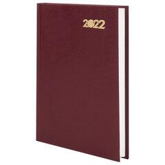 Ежедневник датированный 2022 (145х215 мм), А5, STAFF, твердая обложка бумвинил, бордовый, 113338
