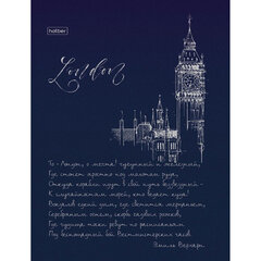 """Блокнот (167х216 мм) А5, 80 л., твердый, клетка, блок 5 цветов, HATBER, 3D фольга, """"Лондон"""", 80ББ5лофВ1"""
