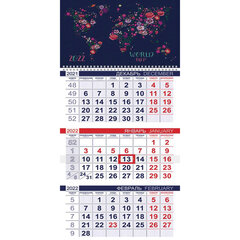 """Календарь квартальный с бегунком, 2022 год, 3-х блочный, 1 гребень, ЭКОНОМ, """"Flower map"""", HATBER, 3Кв1гр3_25846"""