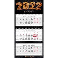 """Календарь квартальный с бегунком, 2022 год, 3-х блочный, 3 гребня, ЛЮКС, """"Год тигра"""", HATBER, 3Кв3гр2ц_25932"""