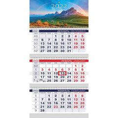 """Календарь квартальный с бегунком, 2022 г., 3 блока, 3 гребня, ОФИС, """"Горные вершины"""", HATBER, 3Кв3гр3_25130"""