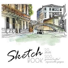 """Скетчбук, акварельная белая бумага 300 г/м2, 200х200 мм, 20 л., гребень, SoftTouch, брайль, """"Venice"""", 97262"""