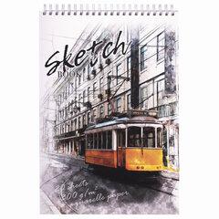 """Скетчбук, рисовальная бумага 300 г/м2, 195х300 мм, 20 л., гребень, SoftTouch, брайль, """"Трамвай"""", 97323"""