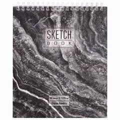 """Скетчбук, серая бумага 120 г/м2, 170х195 мм, 30 л., гребень, подложка, цветная фольга, """"Мрамор"""", 98689"""
