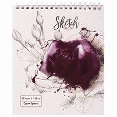"""Скетчбук, серая бумага 120 г/м2, 170х195 мм, 30 л., гребень, подложка, цветная фольга, """"Роза"""", 98702"""