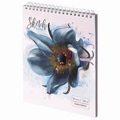 """Скетчбук, серая бумага 120 г/м2, 170х195 мм, 30 л., гребень, подложка, цветная фольга, """"Цветок"""", 98696"""