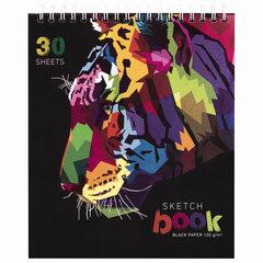 """Скетчбук, черная бумага 120 г/м2, 170х195 мм, 30 л., гребень, цветная фольга, твин лак, """"Тигр"""", 97699"""