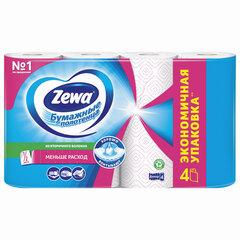 Полотенца бумажные бытовые 2-х слойные 4 рулона (2х14 м), белые, ZEWA Decor, 144100