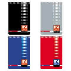 """Блокнот А5 (146х205 мм), 80 л., гребень, мелованная картонная обложка, клетка, BRAUBERG, """"INDAY"""", ассорти, 121723"""