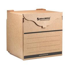 Короб архивный (330х310х340 мм) фронтальная загрузка для регистраторов/накопителей, липучка, гофрокартон, BRAUBERG, 122033