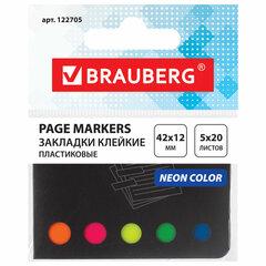 Закладки клейкие BRAUBERG НЕОНОВЫЕ, пластиковые, 42х12 мм, 5 цветов х 20 листов, в картонной книжке, 122705