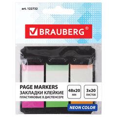 Закладки клейкие BRAUBERG НЕОНОВЫЕ пластиковые, 48х20 мм, 3 цвета х 20 листов, в пластиковом диспенсере, 122732