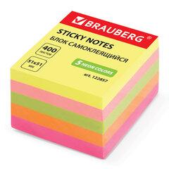 Блок самоклеящийся (стикеры), BRAUBERG, НЕОНОВЫЙ, 51х51 мм, 400 листов, 5 цветов, 122857